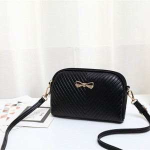 Striped Love Bow Zipper Closure Wristlet - Black