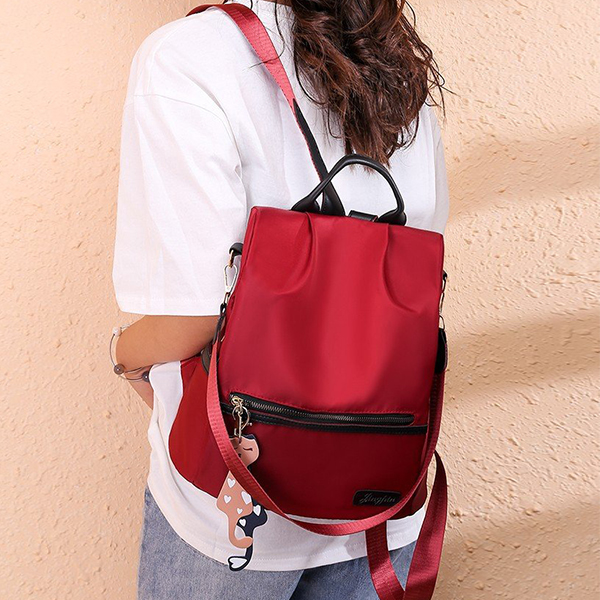 Canvas Shiny Designers Women Backpacks - Red