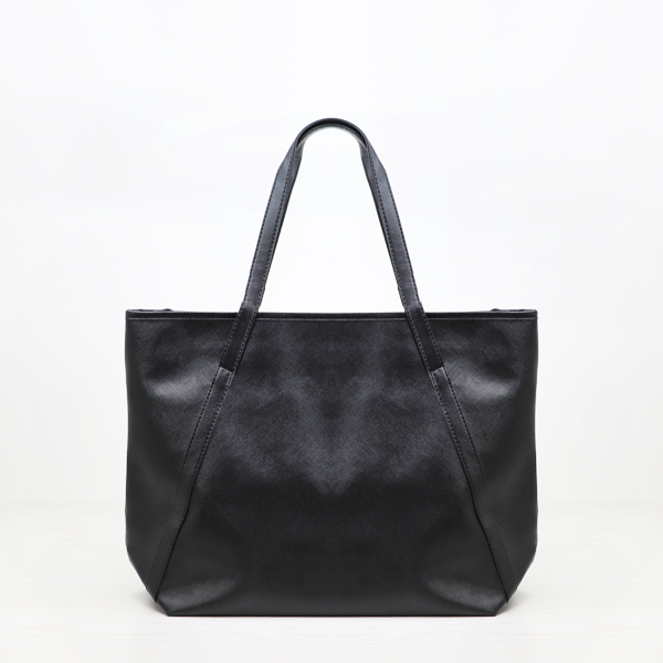 Textured PU Leather Wide Space Shoulder Bags - Black