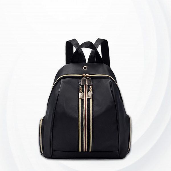 Nylon Shiny Zipper Mini Backpacks - Black