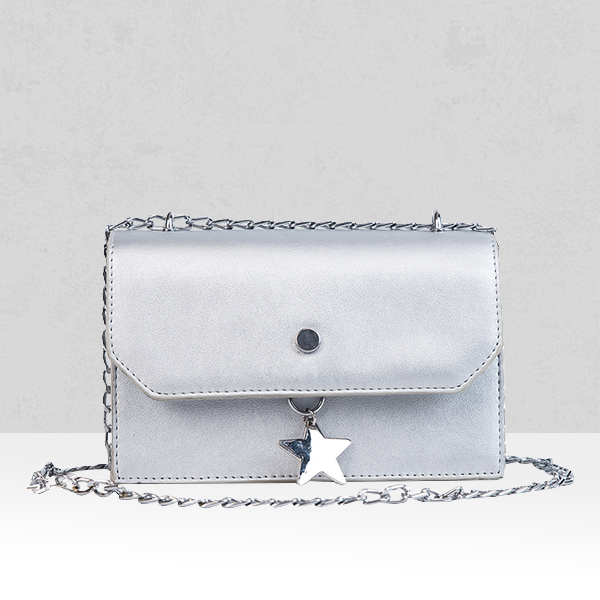 Hanging Star Silver Shiny Quality Messenger Bag