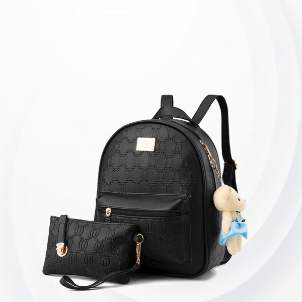 Engraved Texture Two Pieces Backpack Set - Black