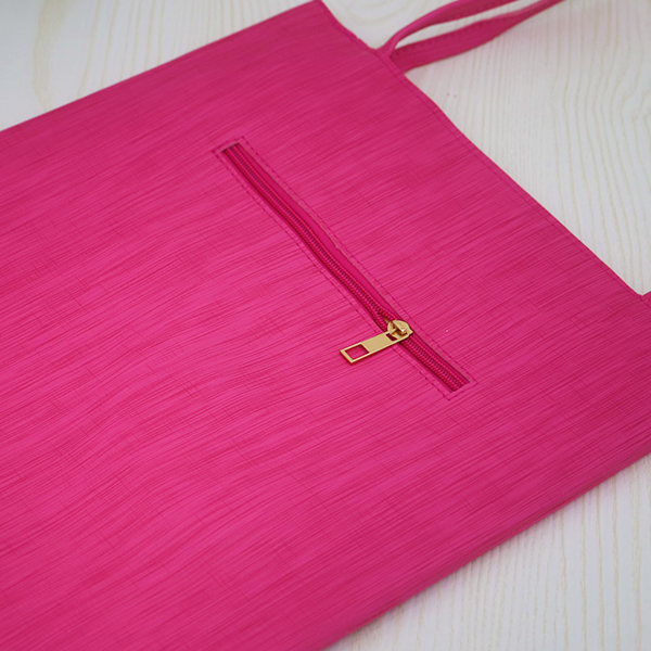 Lady Printed Mesh Pattern PU Leather Shoulder Bags - Hot Pink