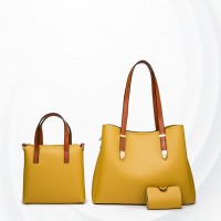 Three Pieces High Quality Formal Handbags Set - Yellow
