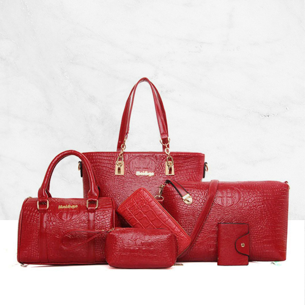 Designer Handbags Set Of 6 Pcs Leather Bags Chains Decoration Red