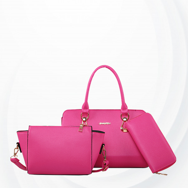 Three Pieces Hot Pink Messenger Handbag Set For Women