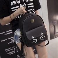 Zipper Cat Print Flap Casual Backpacks - Black