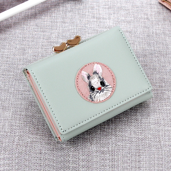 Rabbit Embroidery Handy Mini Clutch Wallet - Green