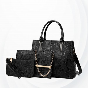 Snake Pattern Three Piece Handbags Set - Black