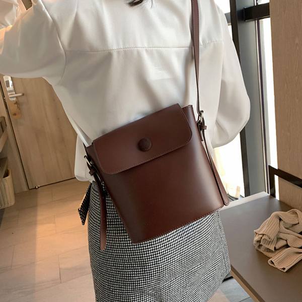 Plain Button Up Plain Synthetic Leather Bags - Coffee