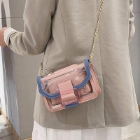 Transparent Shoulder Chain Strap Messenger Bags - Pink