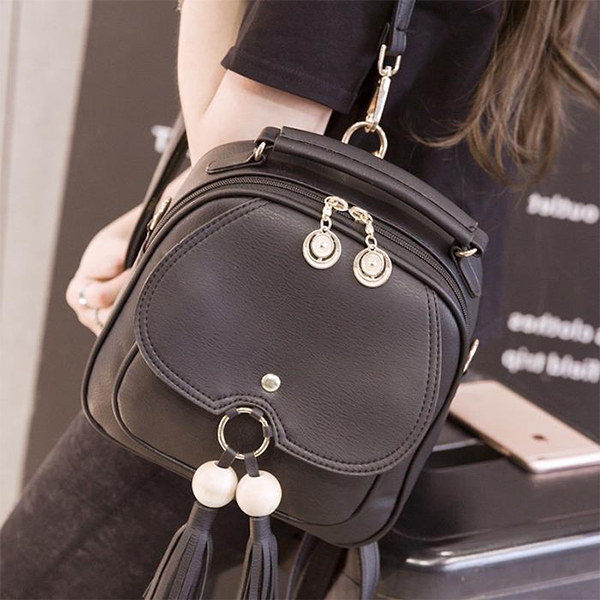 Tassel Solid Zipper Tassel Mini Backpacks - Black