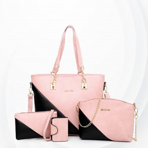 Slash Contrast Three Pieces Formal Handbags Set - Pink