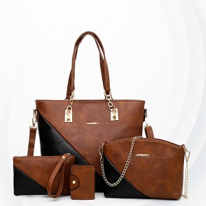 Slash Contrast Three Pieces Formal Handbags Set - Brown