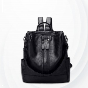 Synthetic Leather Double Zipper Backpack - Black