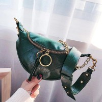 Pu Leather Zipper Shoulder Chain Messenger Bags - Green