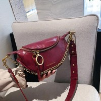 Pu Leather Zipper Shoulder Chain Messenger Bags - Burgundy