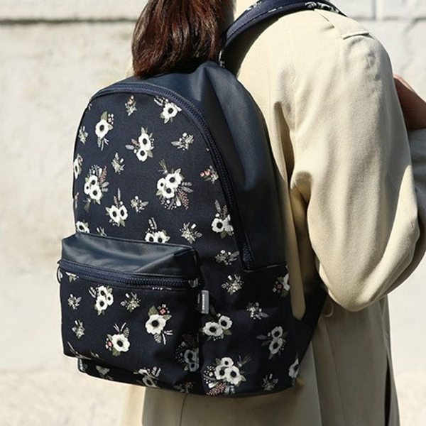 Two Pockets Floral Prints Backpacks - Dark Blue