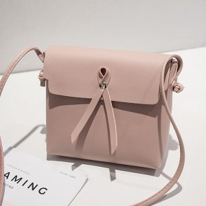 Ribbon Bow Shiny Square Messenger Bags - Pink