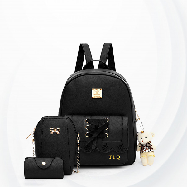Engraved Rose Laced Ribbon Backpacks Set - Black