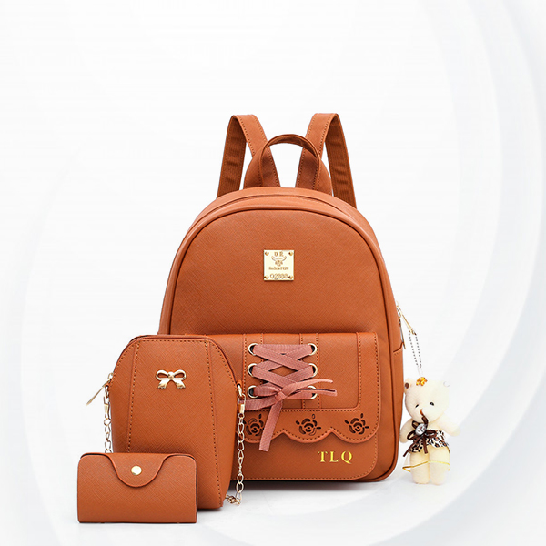 Engraved Rose Laced Ribbon Backpacks Set - Brown