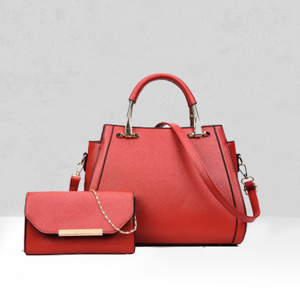 Luxury Two Pieces Solid Red Handbags