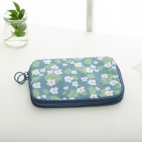 Floral Printed Zipper Closure Canvas Wallets