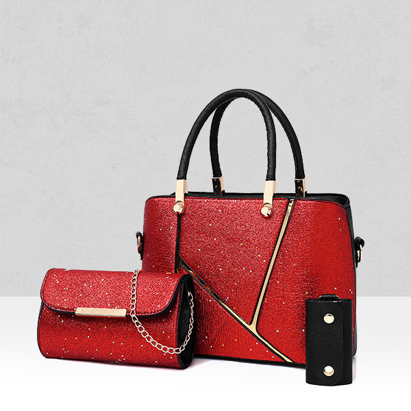 Sparkling Three Pieces Quality Handbags Set - Red