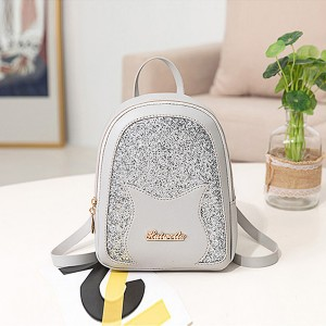 Glittered Portable Outdoor Mini Backpacks - Grey
