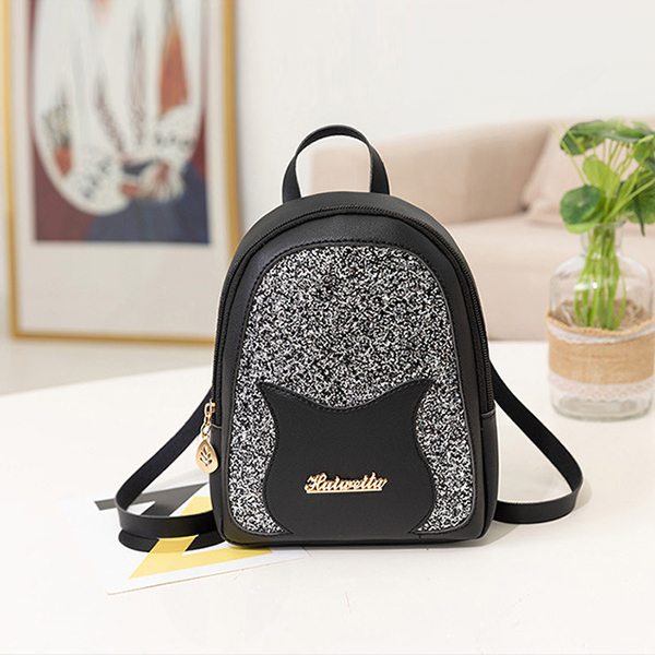 Glittered Portable Outdoor Mini Backpacks - Black