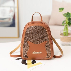Glittered Portable Outdoor Mini Backpacks - Brown