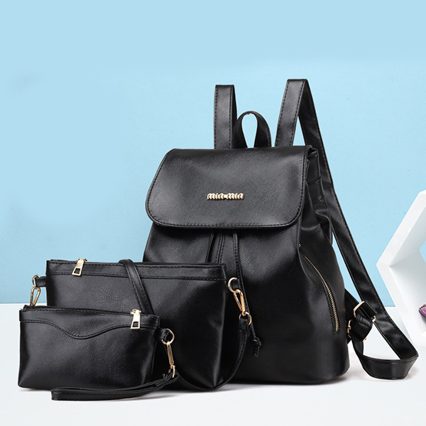 Synthetic Leather Three Pieces Backpacks Set - Black