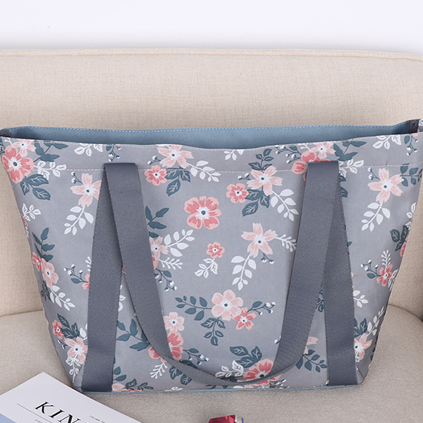 Floral Prints Wide Space Shoulder Bags - Green