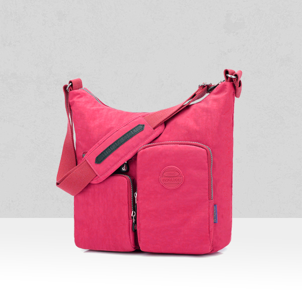 Multi Pockets Wide Space Shoulder Bags - Hot Pink