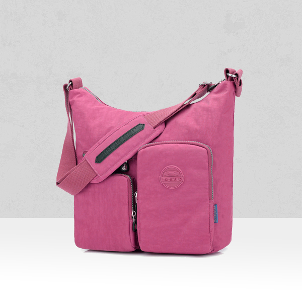 Multi Pockets Wide Space Shoulder Bags - Rose