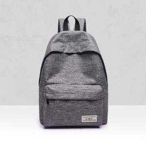String Zippers Canvas Student Backpack - Grey