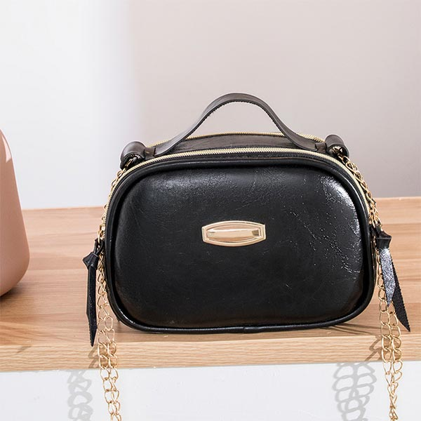 Synthetic Leather Zipper Portable Messenger bags - Black