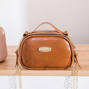 Synthetic Leather Zipper Portable Messenger bags - Brown