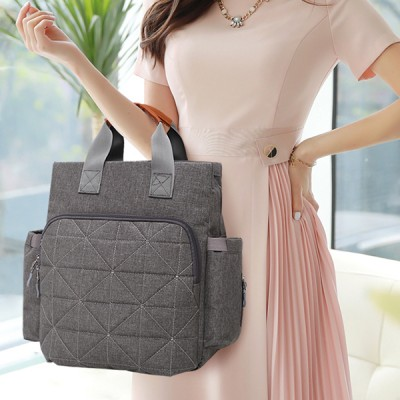 Three Pieces Grey Canvas Handbags Set