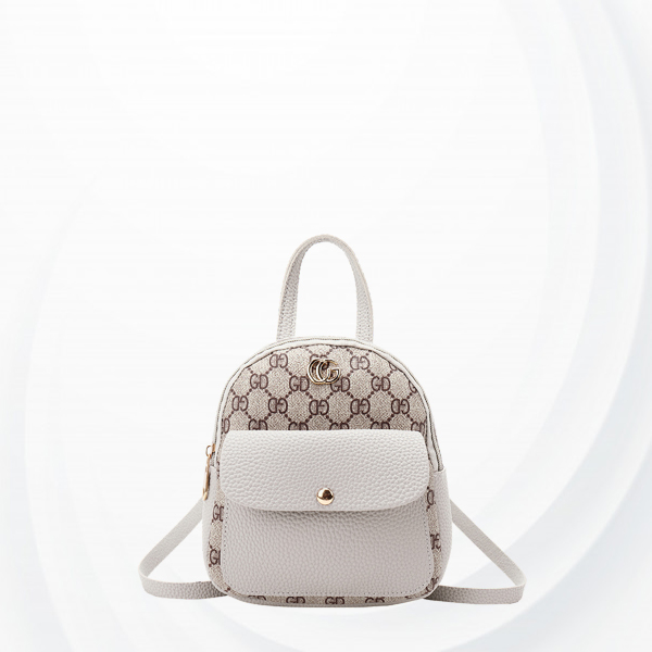 Luxury Printed Zipper Women Fashion Mini Backpack - Grey