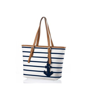 Large Ladies Bag Casual Blue Striped Single Zipper Bag