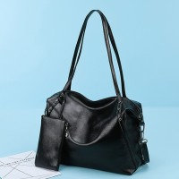 Synthetic Leather Shiny Wide Space Shoulder Bags - Black