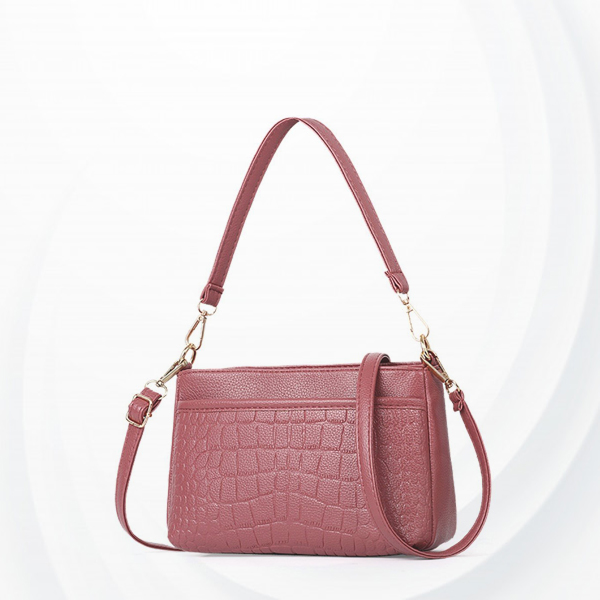 Crocodile Textured PU Leather Messenger Bags - Pink