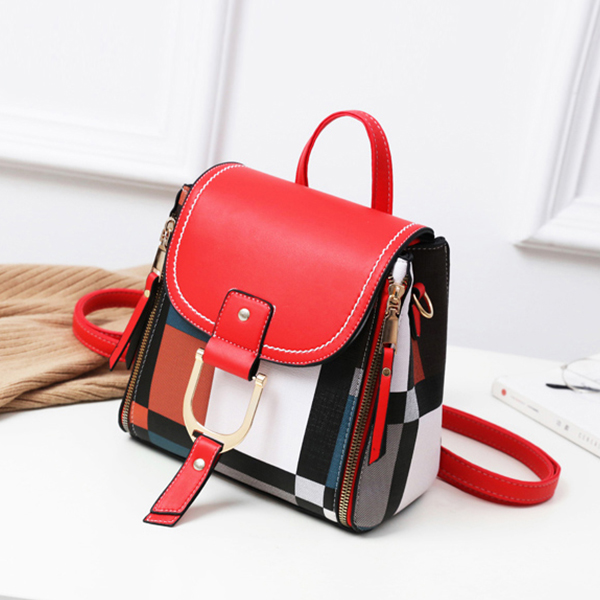 Printed Contrast Buckle Mini Travel Backpack - Red