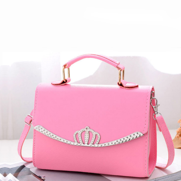 Synthetic Leather Crown Plain Texture Bags - Pink