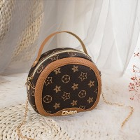 Chain Strap Round Shape Designers Messenger Bag - Brown