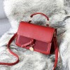 Coin Hanging Synthetic Leather Messenger Bag - Red