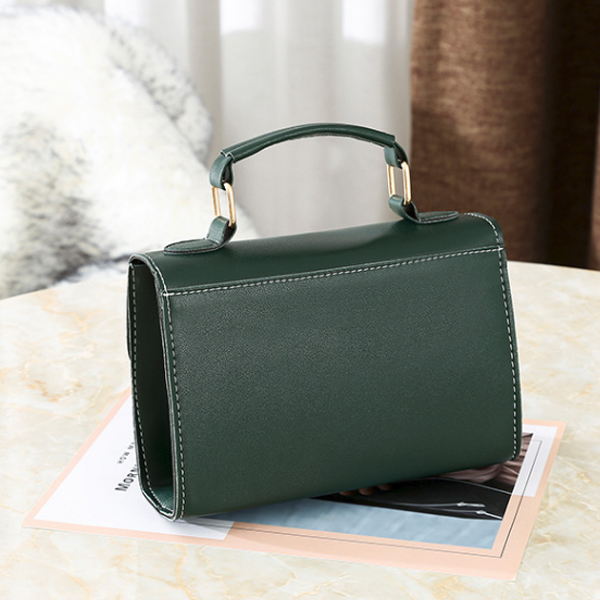 Coin Hanging Synthetic Leather Messenger Bag - Green