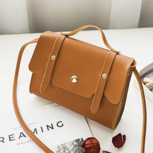 Magnetic Closure Briefcase Messenger Bags - Brown