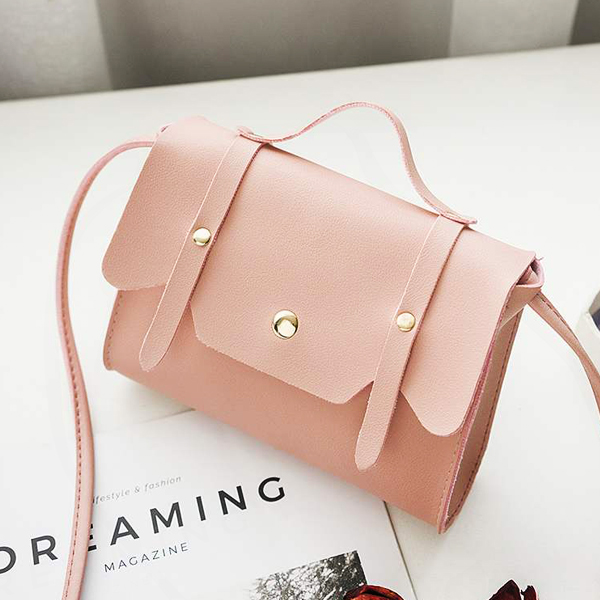 Magnetic Closure Briefcase Messenger Bags - Pink